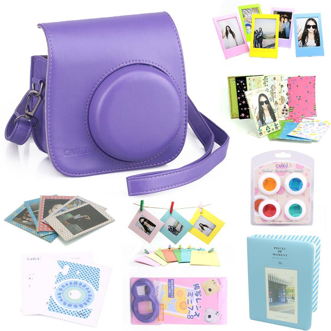 CAIUL 9 in 1 Fujifilm Instax Mini 8 Accessories Bundle (Purple Mini 8 Case/Mini Album/selfie Lens/4 colors Close-Up Lens/Film Frame/Wall Hang Frame/Film Protective Pouch/Film & Camera Sticker)