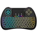 (Upgraded Version) Aerb 2.4GHz Colorful Backlit Mini Wireless Keyboard with Mouse Touchpad Rechargeable Combos for PC, Pad, Google Android TV Box and More (Color: Matt Black, Tamaño: International Version)