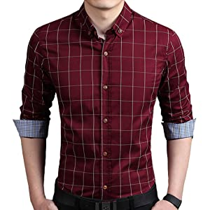 K&R メンズ 服 長袖シャツ 襟付き チェック柄