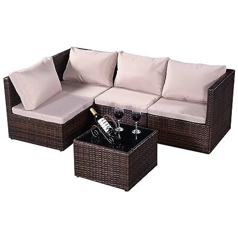 Goplus 5tlg. Poly Rattan Sitzgruppen Gartenmöbel Garnitur Braun Natur Rattanmöbel Lounge Set Sitzgruppe Sofa