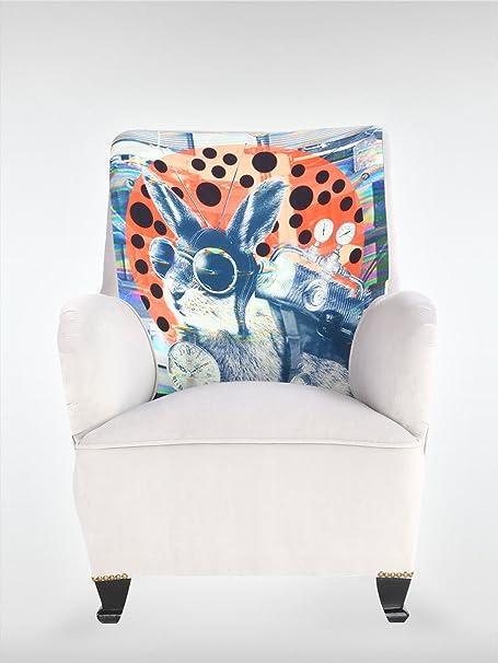 Designer Vintage Ohrensessel Sessel 71 x 85 x 90 cm weiß bunt Wohnzimmersessel Eiche
