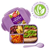 Bento Box Lunch Container, 3 Compartment Food Box for Meal Prepping, Reusable Meal Prep Container with Spoon & Purple Lid, Food Prep Lunchbox for Kids & Adults, Divided Food Storage Container with Lid (Color: Puple)
