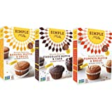 Simple Mills Almond Flour Mix Variety Pack:, (1) Banana Muffin & Bread, (1) Chocolate Muffin & Cake, (1) Pumpkin Muffin & Bread, 3 count