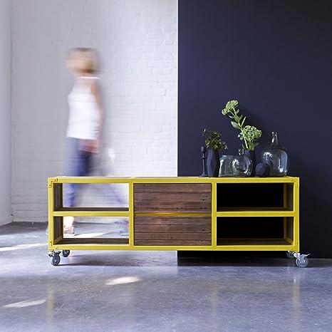 mueble mesa tv consola televisor metal madera reciclada amarillo 160 cm diseño