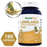 Pure Longjack Tongkat Ali 900mg 180 Caps (NON-GMO & Gluten Free) - Natural Testosterone Booster, Increase Physical Endurance - Made in USA - 100% MONEY BACK GUARANTEE – Order Risk Free!