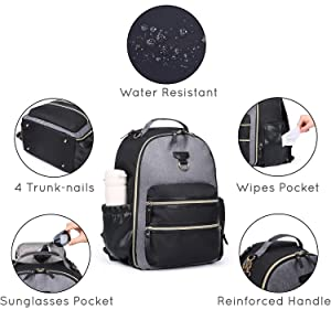 mommore Diaper Backpack Wash-Free Diaper Bag Large Capacity Baby Nappy Bag with Changing Pad, Insulated Pockets and Stroller Clips, Grey (Color: Grey, Tamaño: One-size)