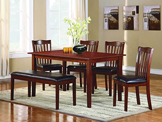 Schaffer 6 PC Dining Table Set with Bench by Home Elegance in Espresso