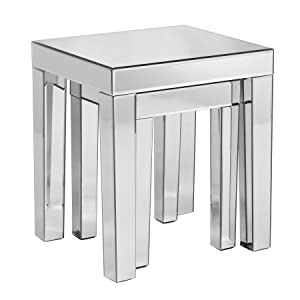 Southern Enterprises Autumn Collection 2 Piece Optica Mirrored Nesting Accent Table Set, Silver       review