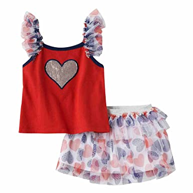 Bonnie Baby Girl First 4th of July Patriotic Sequin Star Shorts Set 0m-24m