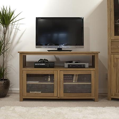 Eton solid oak furniture tv cabinet stand entertainment unit