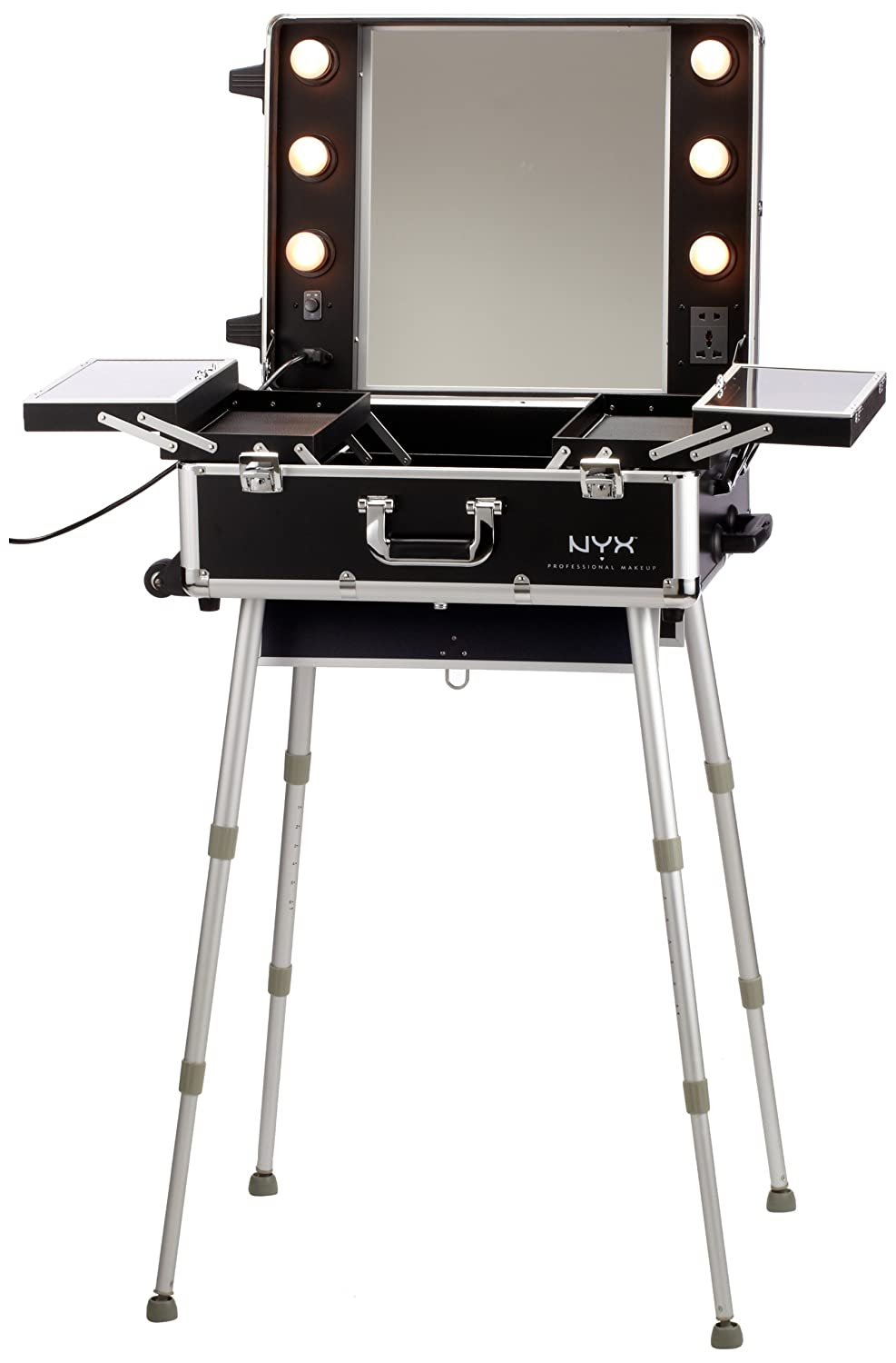 Portable Makeup Vanity With Lights Nyx Makeup Artist Train Case With  Lights Extra Large Black Silver