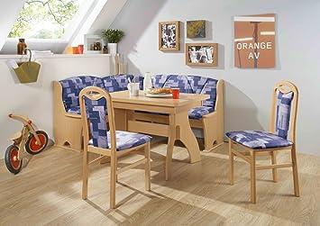 Dreams4Home Eckbankgruppe 'Baker' Essgruppe 170 x 130 x 89 cm Tisch 2 Stuhle modern Buche blau Eckbank Kuchentisch 4-teilig Landhaus Kuche