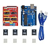 Gowoops 3D Printer kit CNC Shield V3 Expansion Board + UNO R3 Board + 4PCS DRV8825 Step Motor Driver with Heatsinks for Arduino (Color: CNC Board + Uno R3 Board + 4pcs DRV8825 Step Motor)