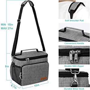 Insulated Lunch Bag for Women//Men Autumn Leakproof Cooler Tote Bag Freezable Lunch Bag with Adjustable Shoulder Strap for Kids//Adult Reusable Lunch Box for Office Work School Picnic Beach