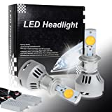 Partsam H7 3000K White Headlight Low Beam Passing Meeting Beam Cree-MTG2 High Power 80W 6400LM LED Lamp Light (Pack of 2) (Color: H7)