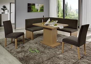 Dreams4Home Eckbankgruppe 'Mesa' Essgruppe 160 x 140 x 88 cm Tisch 2 Stuhle modern Buche Dekor braun beige Eckbank Kuchentisch 4-teilig Landhaus Kuche