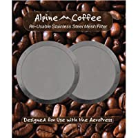 Set of 2 High Quality Stainless Steel Mesh Alpine Coffee Filters - Ultra Fine 350 Mesh Designed for use with the AeroPress Coffee and Espresso Maker