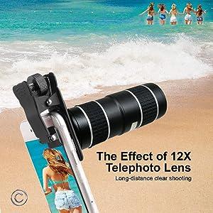 Phone Camera Lens,5 in 1 Cell Phone Lens Kit - 12x Telephoto Lens HD Wide Angle Lens?? Lens? Lensesï¼?2psï¼? with Durable Aero