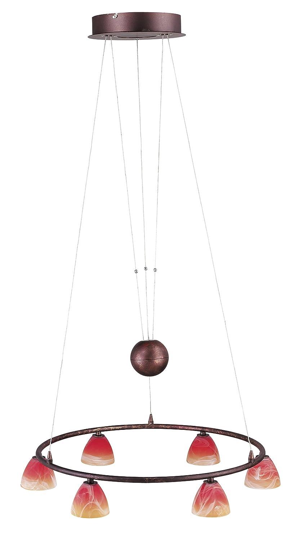 Brilliant Los Angeles Pendelleuchte, 6-flammig (Ring), höhenverstellbar, 6x G4 20W Inklusive, Metall/Glas, altkupfer / rot-orange-alabaster G72274/19