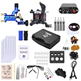 Shark Complete Pro Rotary Tattoo Kit Machines Gun with Plastic Carry Case Power Supply Needles Grips Tips (Color: Blue)