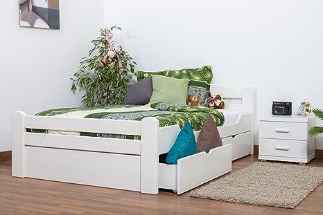 """Einzelbett / Gästebett """"Easy Sleep"""" K4 inkl. 2 Schubladen und 1 Abdeckblende, 120 x 200 cm Buche Vollholz massiv weiß lackiert"""