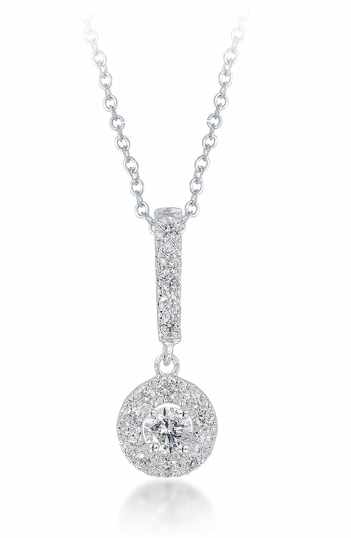 Diamond Studs Forever – Halo-Anhänger mit Staböse & Kette – 1/2 ct. Diamant GH/I1 – Weißgold 14 K – IGI günstig
