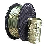 Silk Bronze PLA Filament 1.75mm 3D Printer Filament 1KG (2.2LBS) Printing Material Bronze Filament Silky Shiny Bronze Like (Color: Silk bronze)