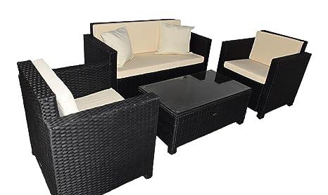 Gartenmoebel Cannes Rattan Lounge Möbel black Polyrattan Gartenausstattung von Jet-Line