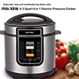 Mockins 6.3 Quart 8 in 1 Electric Pressure Cooker with 16 Functions Including Rice Cooker | Slow Cooker | Steamer | Yogurt Maker | and More … (Color: Stainless Steel, Tamaño: Pressure Cooker)