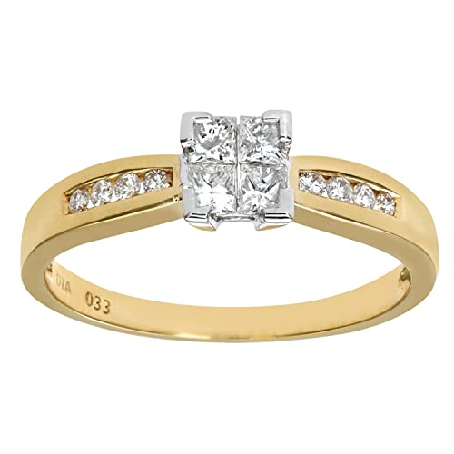 Naava 18ct 33Pt 4 Diamonds Solitare Look With Diamond Shoulders Engagement Ring