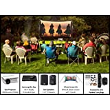 Backyard Theater Kit   Recreation Series System   9' Front and Rear Projection Screen with HD Savi 3000 Lumen Projector, Sound System & Blu-Ray Player w/WiFi (EZ-950) (Color: 9' Screen with Savi 720p HD Projector, Tamaño: 9' Foot)