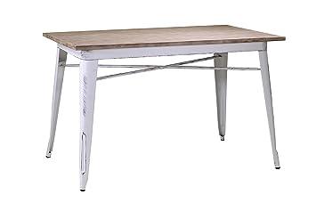 Table de salle à manger rectangulaire fixe de style industriel moderne avec sur de bois massif et structure en acier blanc patine