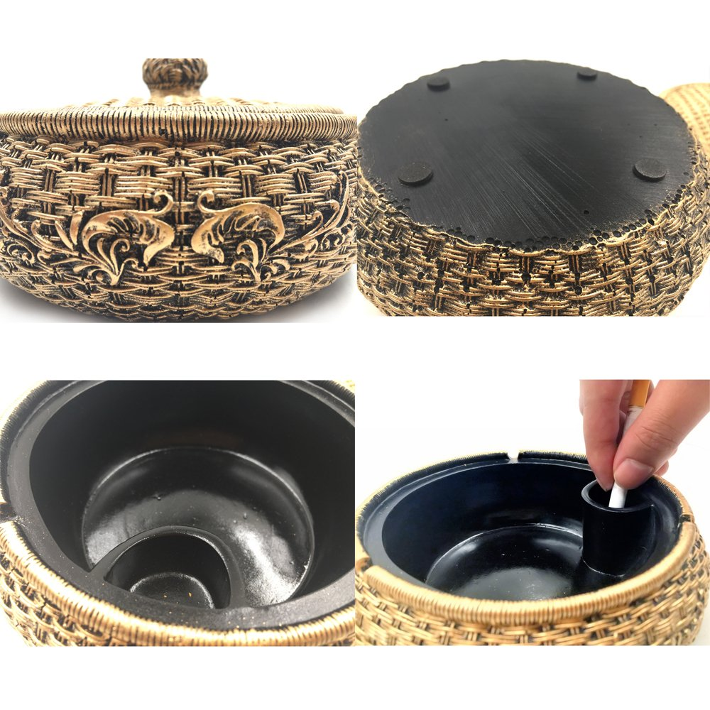 Tri-polar Home Decor Creative Eco-friendly Paint Large Cigarette Office Table Capacity Cigar Ashtray with Lid As Fantasy Gifts for Men Smokers,Rattan 5