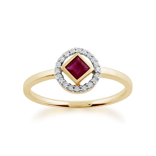 Gemondo Ruby Ring, 9ct Yellow Gold 0.32ct Ruby & Diamond Ring