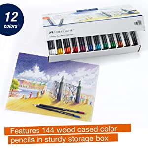Faber-Castell Creative Studio Goldfaber Wooden Color Pencil Classpack - 144 Pencils in 12 Colors (Color: Multi, Tamaño: School Pack (144 Count))