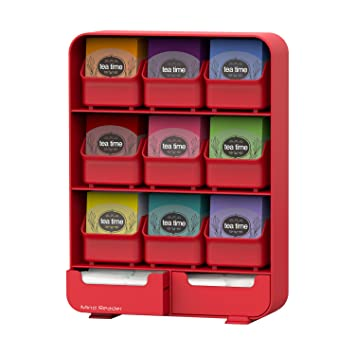 Red : Mind Reader 'Baggy' 9 Drawer Tea Bag And Accessory Holder, Red at amazon