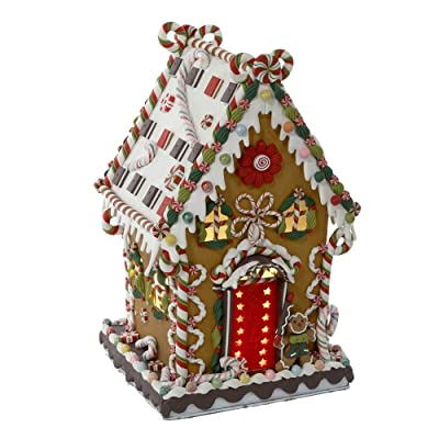 Kurt Adler J3579 Claydough and Metal Cookie and Candy Lighted House Decoration 13-1/4-Inch