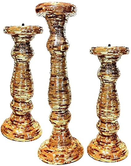 Gold Bangle Pillar Candle Stand Set of 3 by MG Decor Glass