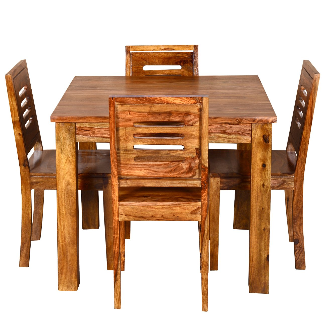 Ringabell square four seater solid wood dining table for Wood dining table set