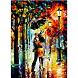 Moohue Embroidery Pattern Oil Painting Love in The Rain 14CT Counted Cross Stitch Kits DMC Cotton Thread Craft Supplies (Love in The rain) (Color: Love in the rain)