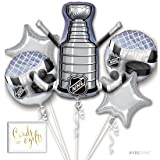 Andaz Press Balloon Bouquet Party Kit with Gold Cards & Gifts Sign, Hockey NHL Stanley Cup Playoffs Party Foil Mylar Balloon Decorations, 1-Set (Color: Sports Hockey)
