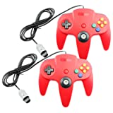 Controller for N64 Nintendo 64 (2-Pack, Red) (Color: Red)