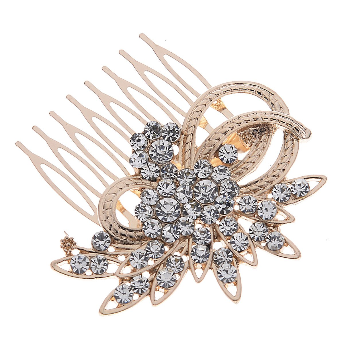Remedios Vintage Crystal Bridal Hair Comb Wedding Hair Accessory, Light Gold 5