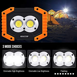 LED Work Light Rechargeable with USB Port, 2X COB Light 20W 1000 Lumen Portable Lighting with Stand,Built-in 6400mAh Lithium Batteries,Led Work Lamp for BBQ, Camping, Fishing Light (Color: Yellow, Tamaño: M)