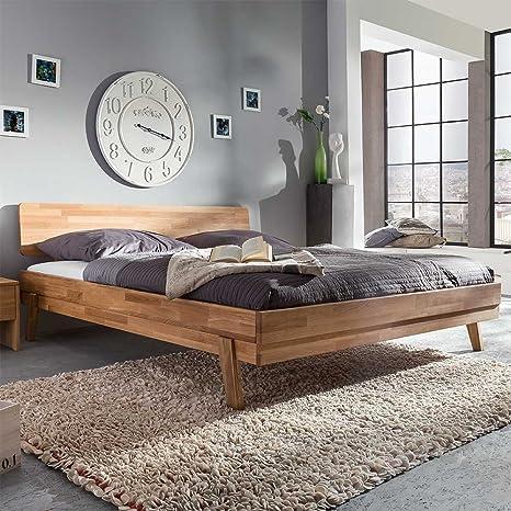 Wildeiche Bett massiv geölt 200x200 Breite 148 cm Liegefläche 140x200 Pharao24