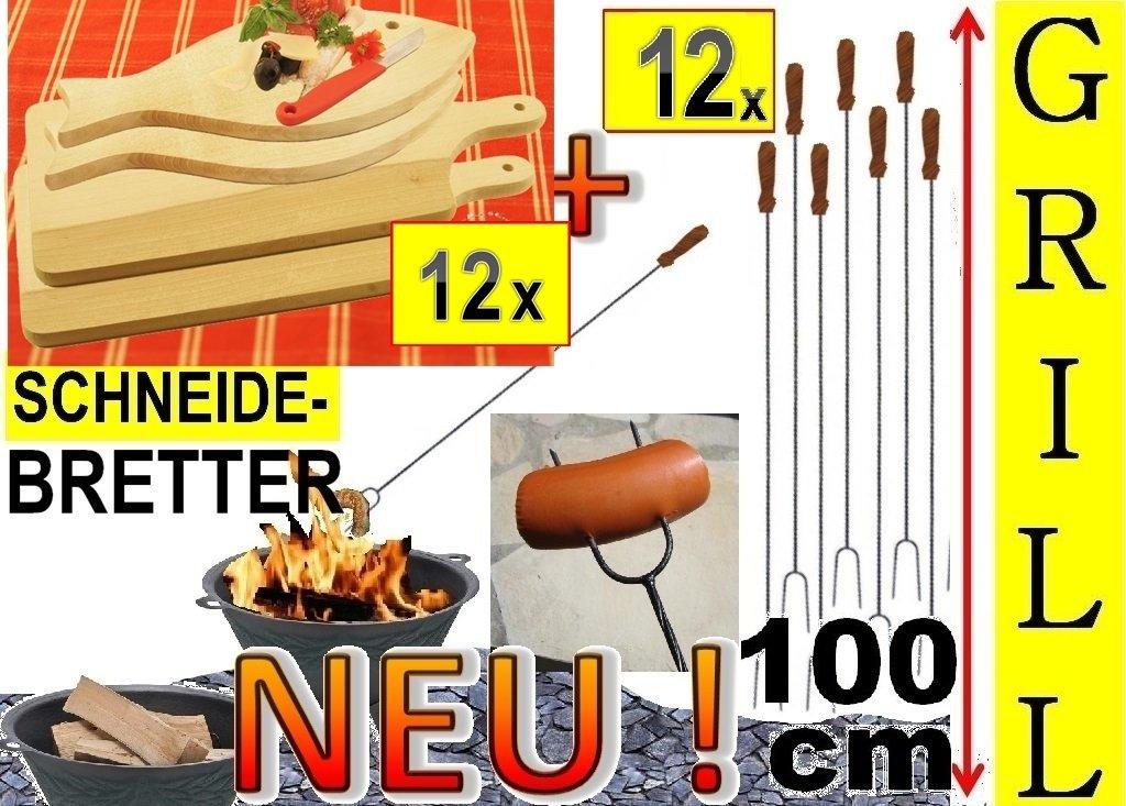 12x Fleischteller Grillbrett Holz + 12x große Grillspiesse, 100 cm lang, lange Spiesse Gabel-Spieß + massive Schneidebretter, 6x Servierplatte groß viereckig 42x 22 cm + 6x Fisch 35x 16cm, Grillbrett Servierbrett für Wurst, Gemüse, Steak / Fleischplatte, Bruschetta, Raclette, Brotzeitbrett mit Griff, Platzteller, Frühstücksbrett, massives Schneidbrett, Anrichtebrett, Frühstücksbrett, Brotzeitbretter, Steakteller , Schinkenteller von BTV, Holz,rustikal bestellen