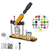 VEVOR Button Maker 1inch Rotate Button Maker Yellow Rotate Button Badge Maker Machine 25mm with 100 Sets Circle Button Parts for Friends(25mm 1inch) (Tamaño: 25MM)