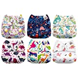 Mama Koala One Size Baby Washable Reusable Pocket Cloth Diapers, 6 Pack with 6 One Size Microfiber Inserts (Dino Roar) (Color: Dino Roar, Tamaño: One Size)