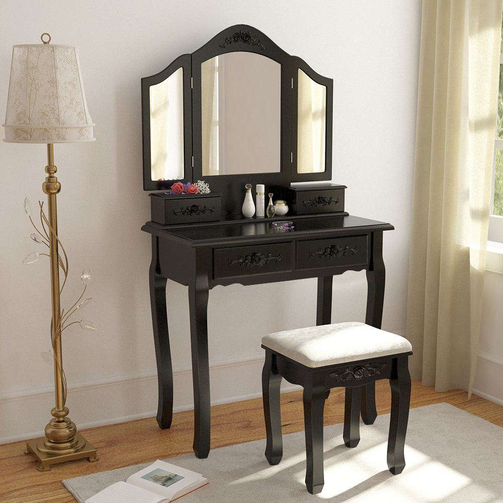 Tribesigns Wood Makeup Vanity Table Set With 3 Tri Mirror