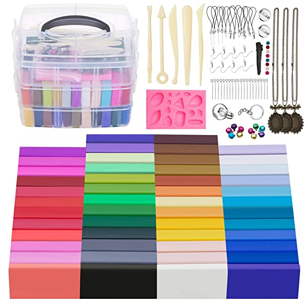 JOYPEA Polymer Clay Starter Kit,50 Colors Oven Bake Clay with 5 Modeling Tools and 68 Accessories, Safe and Nontoxic DIY Baking Clay Blocks Great Gift for Kids (Color: White)